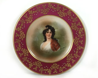 Vintage Small Portrait Plate - Raspberry Border, Gold Floral Embellishments, Woman with Black Hair, Beehive Makers Mark