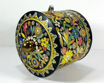 Vintage Black Tin with Heavily Embossed, Colorful Flowers, Gold Highlights, Made in England, Metal Handle, Brass Lid Knob