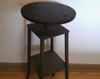 INDUSTRIAL SHOP STOOL, Heavy Welded Steel Swivel Stool,Rubber Attached Seat Pad,Industiral Stool,Industrial Decor,Steel Stool with Shelf