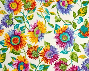 Sunflower Shower Curtain, Bright Floral Shower Curtain, Retro Fabric Shower Curtain, Hippie, Hipster Bathroom Decor