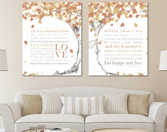 Unique Anniversary Gift, First Dance Lyrics, Wedding Song Lyrics Canvas, Wedding Song Lyric Art, Wedding Song Canvas Art / W-L09-2PS HH5 03P