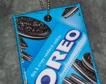 Mini Luggage Tag from Recycled Oreo Thins Cookie Wrappers