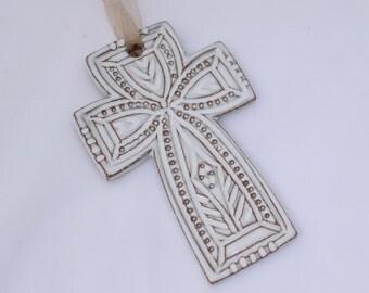 Cross Ornament in Whitewash White - Ceramic Stoneware Pottery