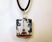PARIS EIFFEL TOWER Necklace / Beaded Scrabble Pendant / Upcycled / France / Jewelry