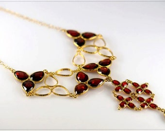 Statement Necklace - Red Crystal - Gold Necklace - Handmade Necklace - Evening Jewelry - Gift For Her - Elegant Necklace - Inbal Bittan