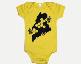 Organic Onesie Cotton Maine Honey Bee Baby Body Suit Short Sleeve in Dijon Yellow Mustard Color Honey Comb