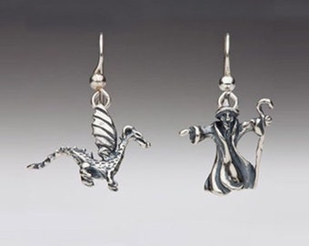 Wizard and Baby Dragon Earrings Silver Earrings Wizard Jewelry Dragon Jewelry