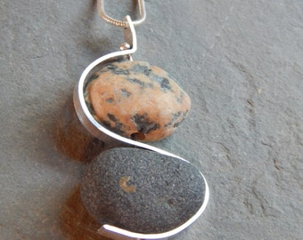 double making waves beach stone necklace