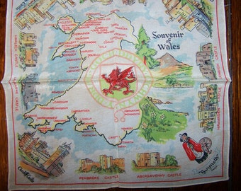 "Vintage Souvenir Silk Handkerchief, Hanky, from Wales, 11"" Square, Perfect, Castles, Dragon, FREE SHIPPING"