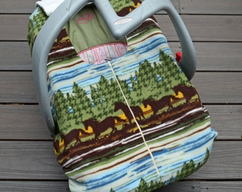 Wild Horses Car Seat Cover for Baby, by Sophie Marie
