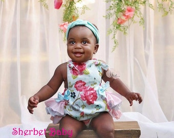 Handmade Ruffled Sunsuit in Pink & Blue Rose Floral Print