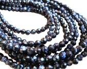Blue Goldstone Beads, Blue Sandstone Beads, 4mm Round, SKU 2559A