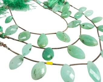 Chrysoprase Briolettes, Chrysoprase Beads, Faceted Marquise, Wholesale Chrysoprase, SKU 3910A