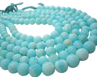Blue Peruvian Opal Beads, Peruvian Opal Beads, Blue Opal Beads, Round, Aqua Gemstone, Wholesale Opal, SKU 5114