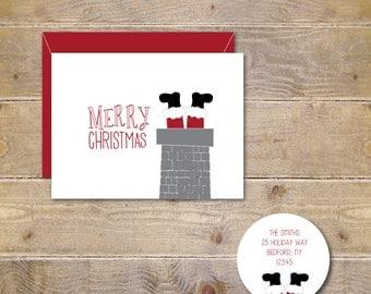 Christmas Cards, Holiday Card Set, Christmas Card Set, Santa Claus in Chimney, Santa Claus Cards, Santa in Chimney Cards, Holiday Cards