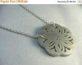 Pearl button necklace ... pale grey pearl filigree button pendant necklace