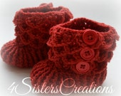 Made and Ready to Go Crocodile Stitch Red Booties with Buttons 6-12 Month Crochet Boots - Finished, Completed