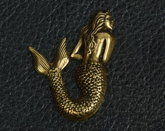 Mermaid charm brass antiqued, larger size, 55mm , made in USA, sold by 3 each 15328BR