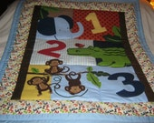 Handmade Appliqued Jungle Animals and Numbers Baby/Toddler Quilt-NEWLY Made 2016