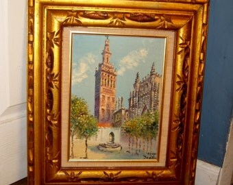 Mid Century Oil Painting Canvas Gold Carved Wood Frame Seville Cathedral Plaza Spain Vintage Antique Art Signed Tesso