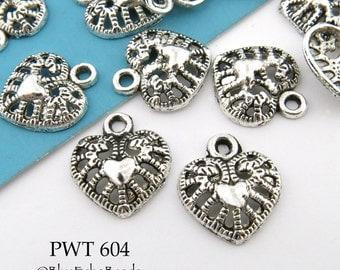 12mm Small Filigree Heart in Heart Pewter Charm (PWT 604) 18 pcs BlueEchoBeads