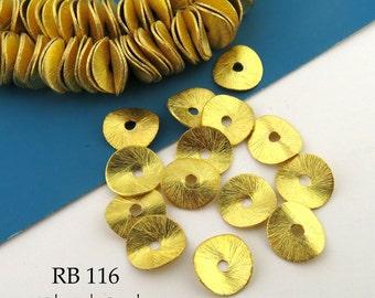 10mm Gold Tone Potato Chip Beads, Wavy Disk, Brushed Gold (RB 116) 12 pcs BlueEchoBeads