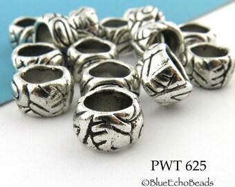 10mm Large Hole Pewter Ring Beads (PWT 625) 8 pcs BlueEchoBeads