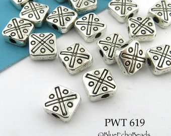 6mm Small Square Bead with X and O's Antique Silver (PWT 619) 20 pcs BlueEchoBeads