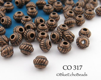 5mm Mini Copper Ribbed Spacer Beads, Small Antiqued Copper Beads (CO 317) 25 pcs BlueEchoBeads