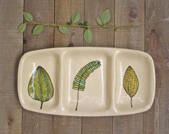 White ceramic leaf dish, tray with blue, green and yellow leaves, woodland home decor
