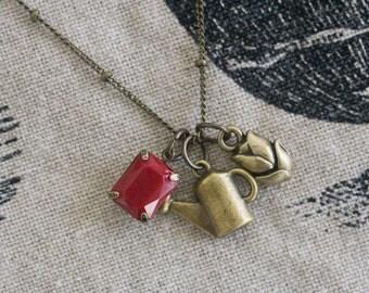 Bronze Gardener Charm Necklace