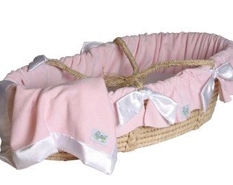 Bedding ONLY for Moses Basket- Pink Chenille with Satin