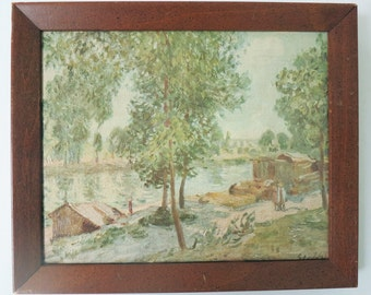 Original Landscape Oil Painting, Cabins at the Lake in Beige, Light Blue, Green and Brown, Signed