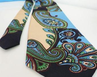 vintage 1970s men's turqoise Paisley necktie / 70s boho hippie disco tie/ Fabio Germany