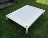 Dog Bed, White Mesh Dog Cot, Large Dog Beds, Custom Made Mesh PVC Pipe Cots, 4 SIZES, Outside Beds Indoor Beds, Dogs Up To 130 Pounds.