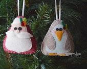 Felt Penguin and Santa Ornament set