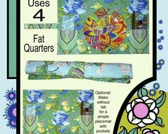 PETULA JANE Roll-and-Go Pocket Placemat & Napkin Sewing Pattern Uses 4 FQ Fat Quarter Scrap Friendly Beginner Scrappy Fun Villa Rosa Fryer