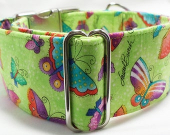 Butterflies on Green Greyhound, Whippet, Galgo, Saluki, Borzoi, Pet, Dog Martingale or Buckle Collar