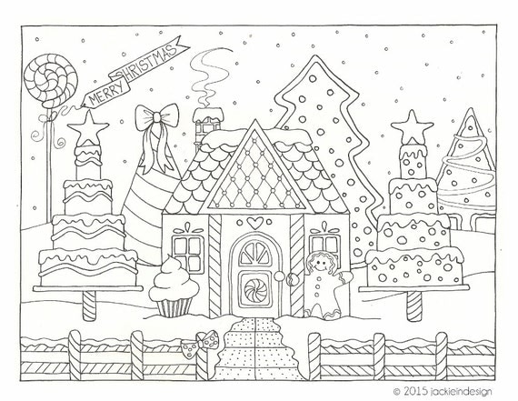 Gingerbread House Coloring Pages Pdf : Items similar to gingerbread house winter scene coloring
