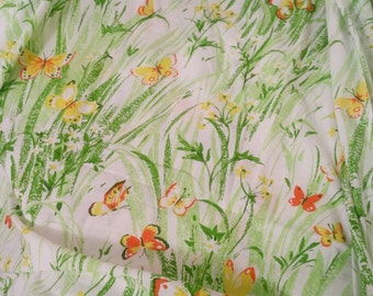 Vintage Twin Fitted Sheet, Twin Sheet, Single Fitted Sheet, Butterfly Sheet, Vintage Butterfly Sheet, Spring Fabric