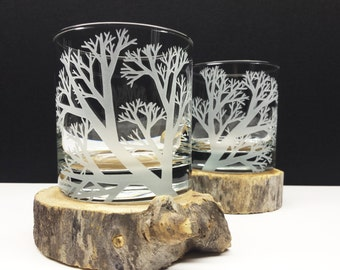 Whiskey Glasses Engraved 'Reaching Branches' Set of 2 Drinking Glasses Woodland Bar ware Holiday Glassware Father of The Bride Gift