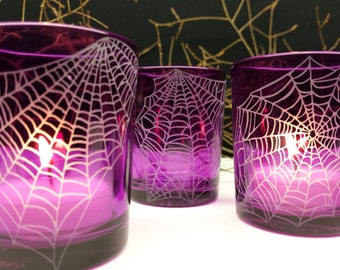 Webs 4 Glass Votive Candle Holders Halloween Party Decorations Engraved 'Webs'