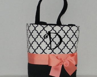 Monogrammed tote, purse, handbag, flower girl gift, bridesmaid, personalized, custom