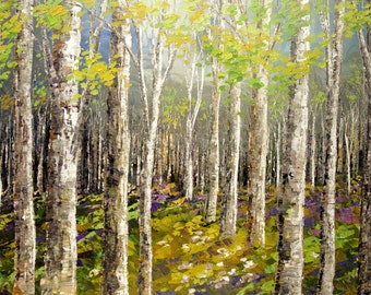 "Forest Painting Palette Knife Original Landscape Spring Art Birch Aspen Trees Woodland - 24""x36""- by Tatiana Iliina - free shipping"