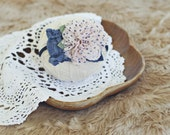 baby and toddler headband // photography prop // newborn photo prop // shabby chic // vintage style // polka dots // flower // pink and navy