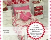 """PDF 18"""" Doll Le Jardin Comforter and Pillows  pattern"""