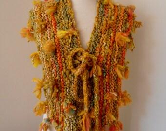 Scarf  Hand Spun Hand Knit Scarf golden green autumn colors merino silk gotland