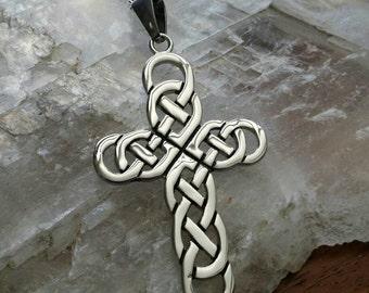 Stainless Steel Celtic Knot Cross Cross Pendant Necklace