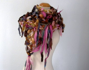 flight of fancy. handknit art yarn scarf . eco friendly sustainable knit scarf .  merino wool sari silk warm winter scarf . brown pink blue