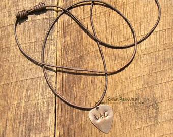 Mens Guitar Pick Brown Leather Necklace adjustable long cord length custom personalized initials antique bronze rocker rustic rugged